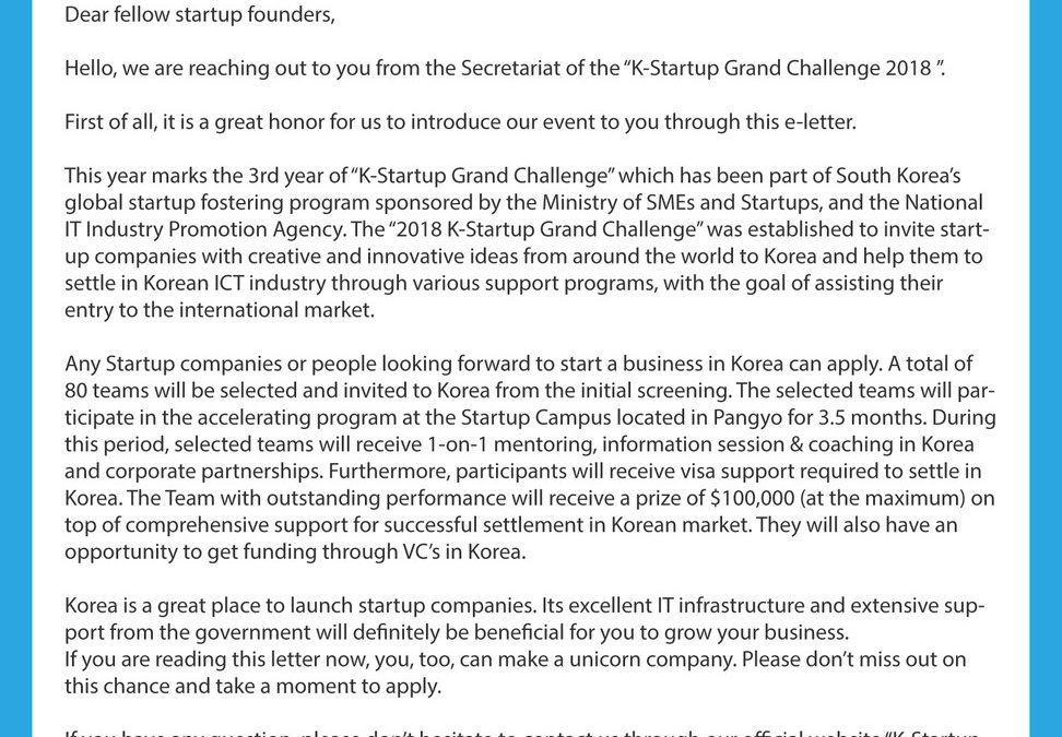 K-Startup Grand Challenge 2018 is now open for application. (until June 14th)